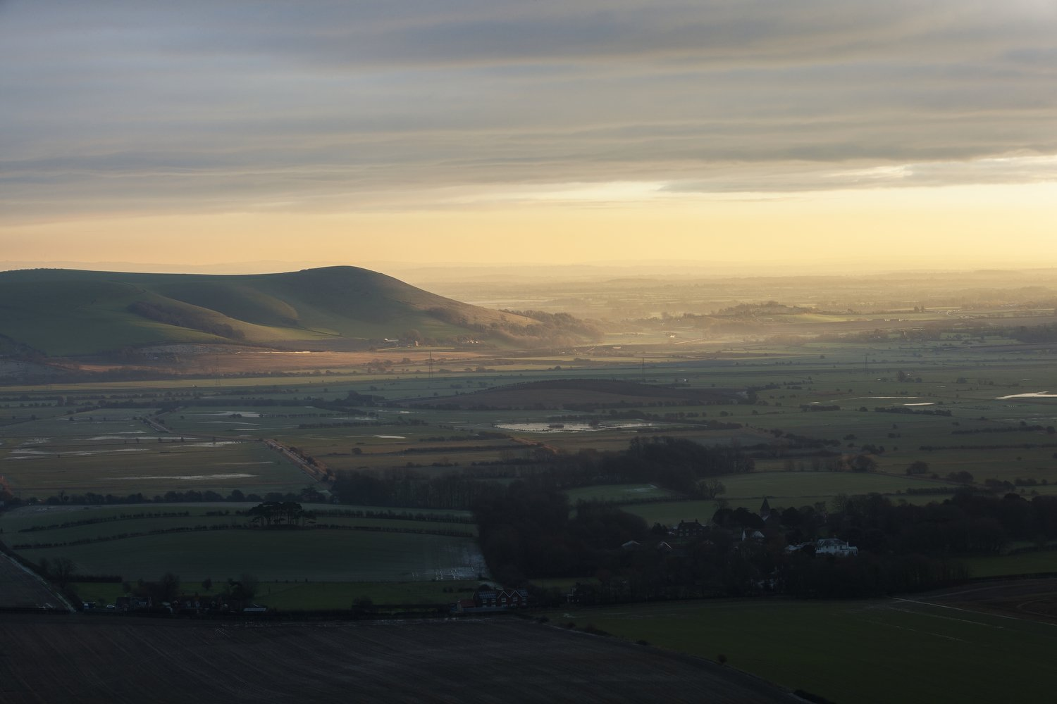 Last light on Mount Caburn from Swanborough Hill